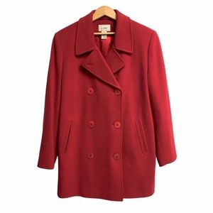 L.L. BEAN Women's Wool Cashmere Peacoat Red 14
